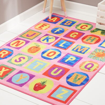 ABCs Educational Pink Area Rug Rug Size: Rectangle 66 x 95
