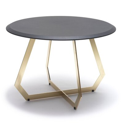 Image of The Fetish End Table Table Base Color: Brass Oxidized Iron, Table Top Color: Black