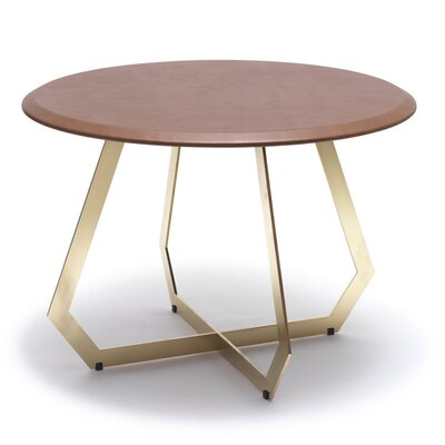 The Fetish End Table Table Base Color: Brass Oxidized Iron, Table Top Color: Antique Brown