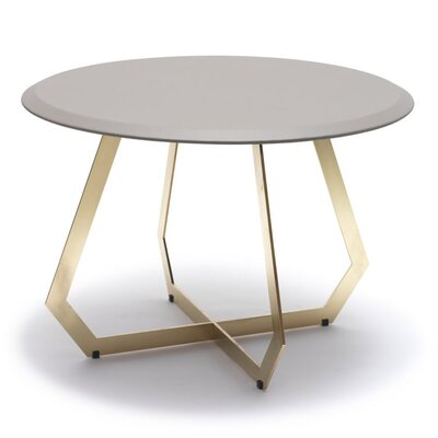 The Fetish End Table Table Base Color: Brass Oxidized Iron, Table Top Color: Warm Gray