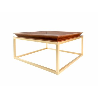 Le Tray Straight Leg Coffee Table Table Top Color: Walnut, Table Base Color: Oiled Bronze