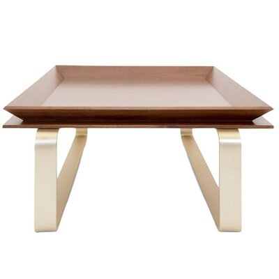 Le Tray Curved Leg Coffee Table Table Top Color: Oak, Table Base Color: Polished Brass