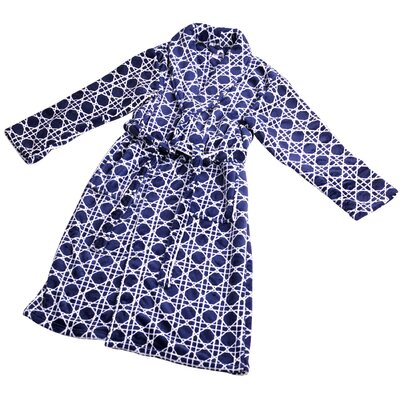 Cane Microfiber Flannel Fleece Bathrobe Size: Small, Color: Peacoat