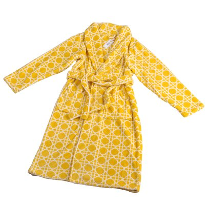 Cane Microfiber Flannel Fleece Bathrobe Size: Small, Color: Samoan Sun
