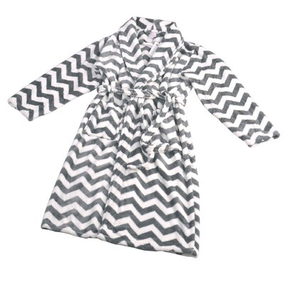 Chevron Microfiber Flannel Fleece Bathrobe Size: Large, Color: Charcoal