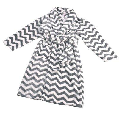 Chevron Microfiber Flannel Fleece Bathrobe Size: Small, Color: Charcoal