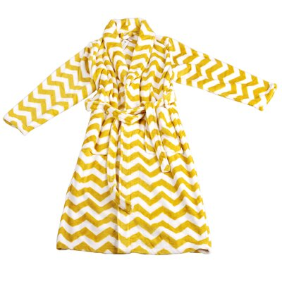 Chevron Microfiber Flannel Fleece Bathrobe Size: Large, Color: Samoan Sun