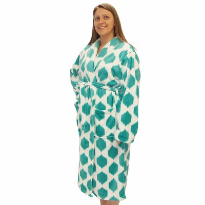Isabella Microfiber Flannel Fleece Bathrobe Size: Large, Color: Cascade