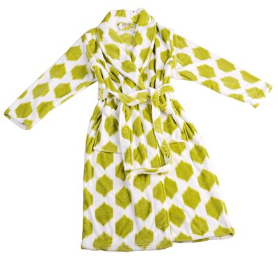 Isabella Microfiber Flannel Fleece Bathrobe Size: Small, Color: Dark Citron