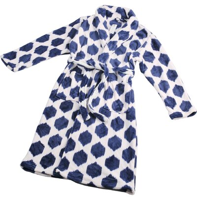 Isabella Microfiber Flannel Fleece Bathrobe Size: Large, Color: Peacoat