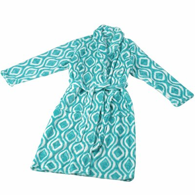 Ivan Microfiber Flannel Fleece Bathrobe Size: Large, Color: Baltic