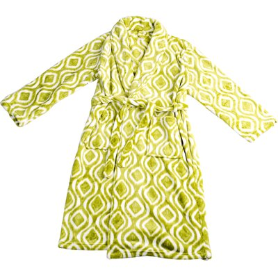 Ivan Microfiber Flannel Fleece Bathrobe Size: Small, Color: Dark Citron