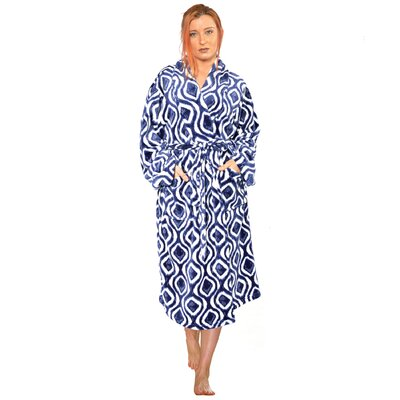 Ivan Microfiber Flannel Fleece Bathrobe Size: Large, Color: Peacoat