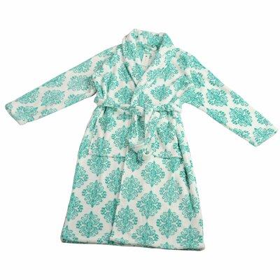 Jules Microfiber Flannel Fleece Bathrobe Size: Small, Color: Baltic
