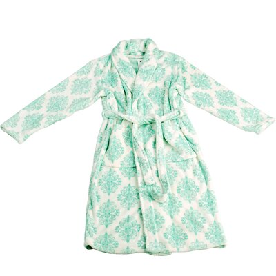 Jules Microfiber Flannel Fleece Bathrobe Size: Large, Color: Cascade