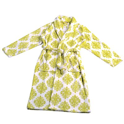 Jules Microfiber Flannel Fleece Bathrobe Size: Large, Color: Dark Citron