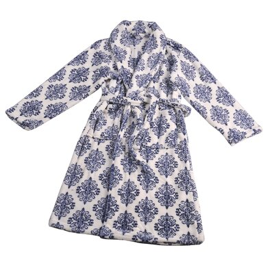 Jules Microfiber Flannel Fleece Bathrobe Size: Small, Color: Peacoat