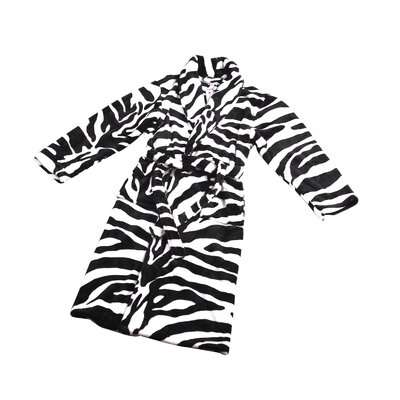 Zebra Microfiber Flannel Fleece Bathrobe Size: Small, Color: Black/White