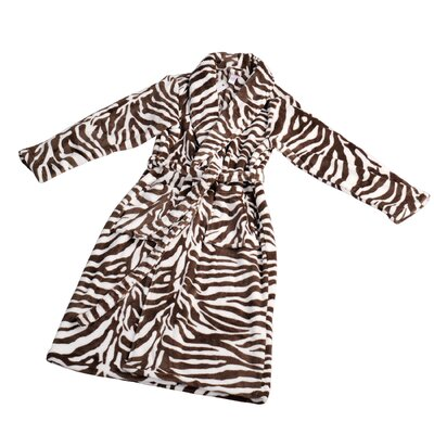Zebra Microfiber Flannel Fleece Bathrobe Size: Small, Color: Light Brown
