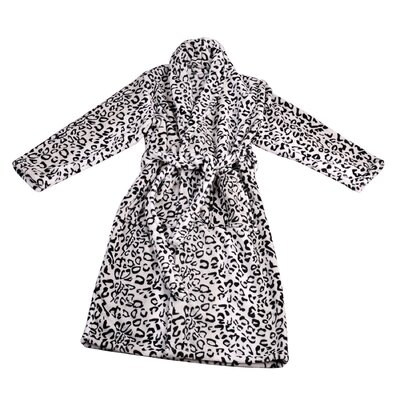 Leopard Microfiber Flannel Fleece Bathrobe Size: Large, Color: Black/White