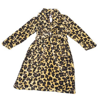Leopard Microfiber Flannel Fleece Bathrobe Size: Large, Color: Brown/Black