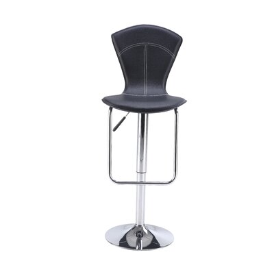 Adjustable Height Bar Stool (Set of 2) Upholstery: Black