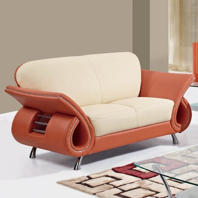 Loveseat Finish: Beige/Orange