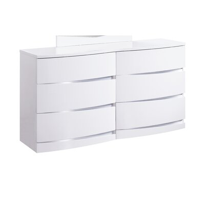 Aurora 6 Drawer Dresser Color: White