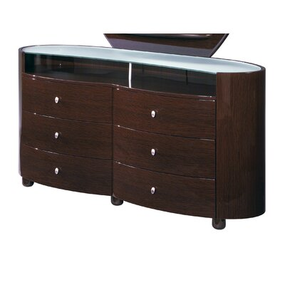 Emily 6 Drawer Dresser Color: Wenge