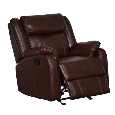 Glider Recliner Upholstery Color: Brown