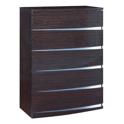 Aurora 5 Drawer Chest Color: Wenge