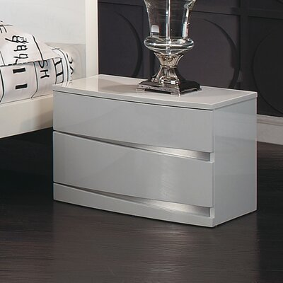 Aurora 2 Drawer Nightstand Color: White