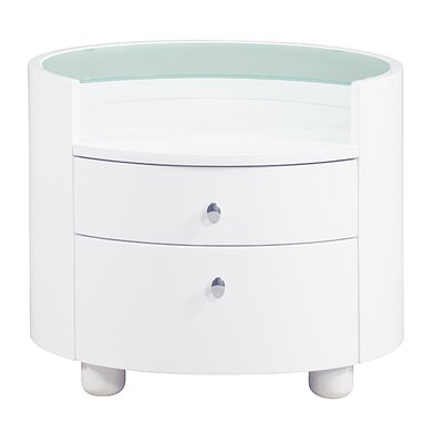 Emily 2 Drawer Nightstand Color: White