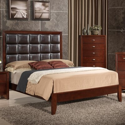 Carolina Upholstered Panel Bed Finish: Brown Cherry, Size: Queen