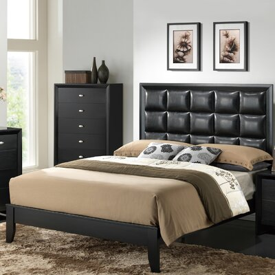Carolina Upholstered Panel Bed Finish: Black, Size: Queen