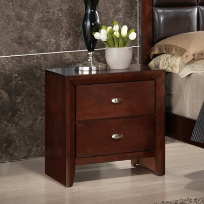 Carolina 2 Drawer Nightstand Finish: Brown Cherry