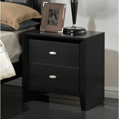 Carolina 2 Drawer Nightstand Finish: Black
