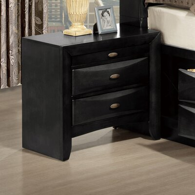 Linda 2 Drawer Nightstand Finish: Black