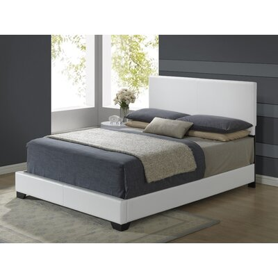 Upholstered Platform Bed Size: Full, Upholstery: White