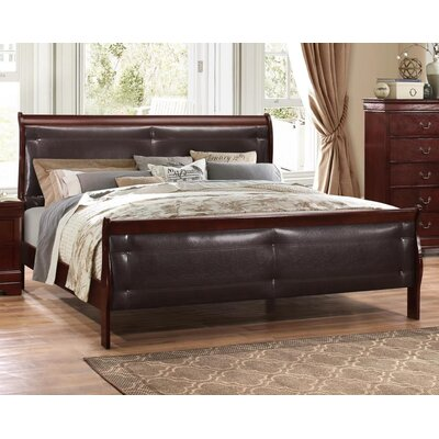 Lampkins Tufted King Upholstery Panel Bed Color: Merlot, Size: Queen