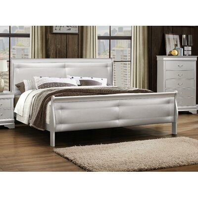 Lampkins Tufted King Upholstery Panel Bed Color: Silver, Size: King