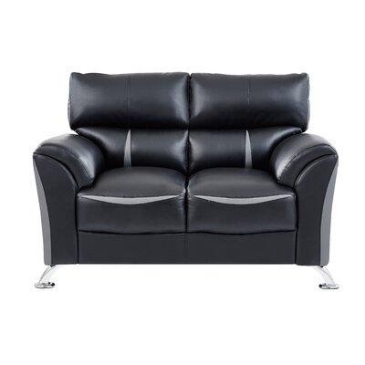 Leavy Loveseat Upholstery: Black/Gray