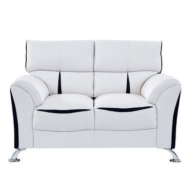 Leavy Loveseat Upholstery: White/Black