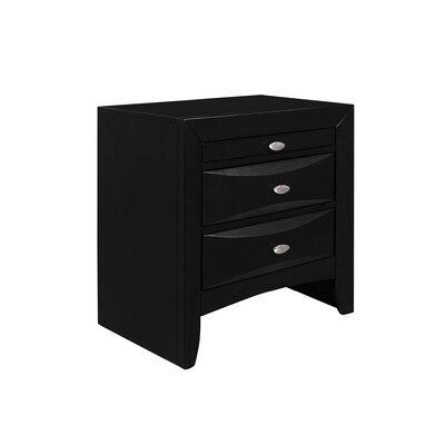 Treadwell 2 Drawer Nightstand Color: Black