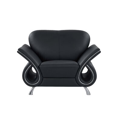 Clark Leather Armchair Upholstery: Black