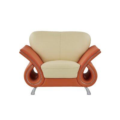 Clark Leather Armchair Upholstery: Tangerine
