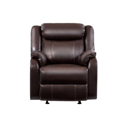 Manual Glider Recliner Upholstery Color: Brown
