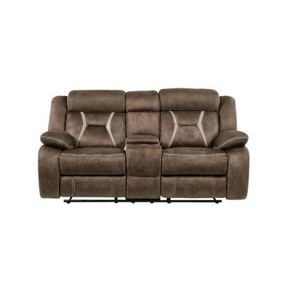 Gildardo Stitched Fabric Console Reclining Loveseat