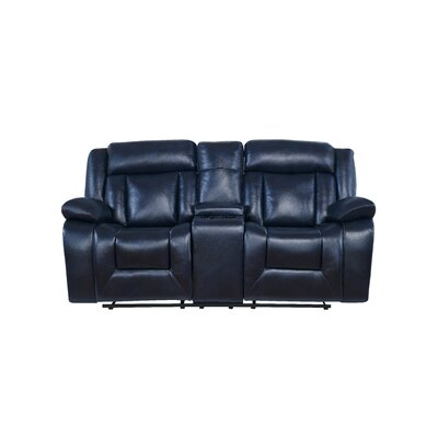 Wascar Console Reclining Loveseat Upholstery: Navy Blue
