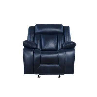 Melvous Extra Plush Reclining Sofa Upholstery: Navy Blue
